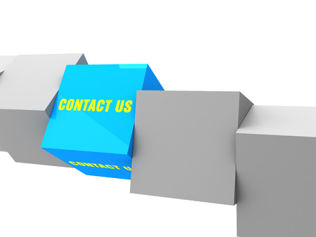 3d contact us: 3D contact us box with grey cube on white background