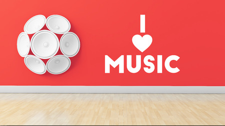 dvd room: Stylish illustration mentioning I love music written on red wall with speakers attached Stock Photo