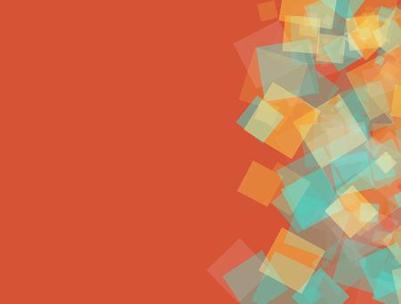 papel tapiz turquesa: diseños cuadrados brillantes en la esquina derecha de la parte de fondo de color naranja, se podrían utilizar para el cartel y la tarjeta de visita diseños Foto de archivo