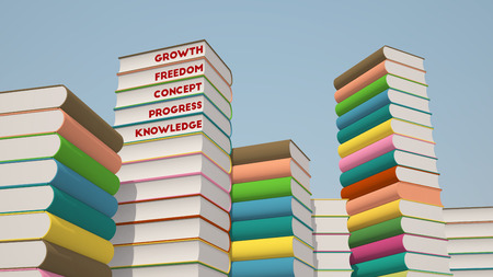 stack of books with different inspirational words