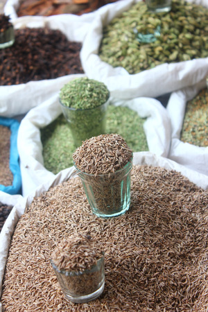 various indian spices at local market Stock Photo