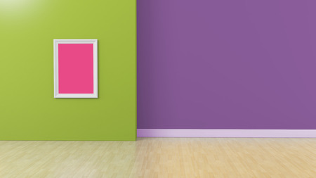 Minimalistic interior with green and purple walls, wooden floor and blank frame