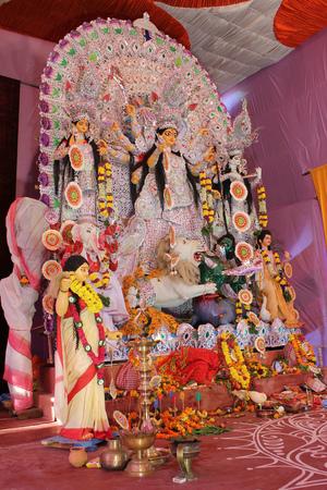 Goddess durga idol in a pandal during durga puja celebration Stock Photo