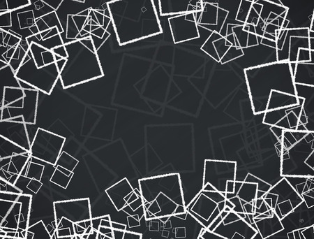 Abstract illustration background with squares on black background