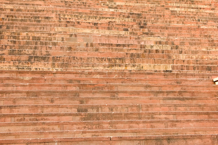 Red stone stairs at entrance of Buland Darwaza, Fatehpur Sikri, Agra, India