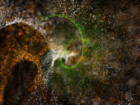 three colors orange, white and green particles for background