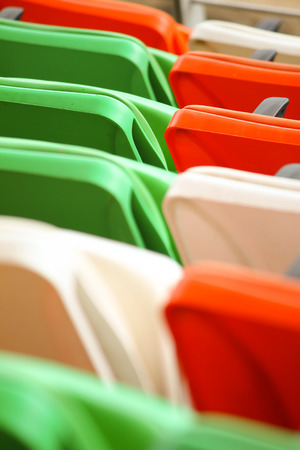 Tricolor chairs in the stadium during Independence day celebration Stock Photo
