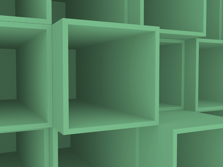 3d open wooden boxes on stack, background Stock Photo