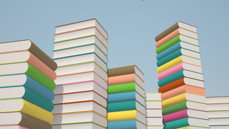 Stacks of colorful books,  illustration background Stock Photo