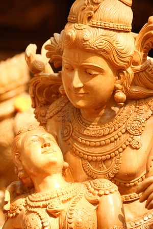 Sculpture of Lord Vishnu and Lakshmi with detail carving Stock Photo