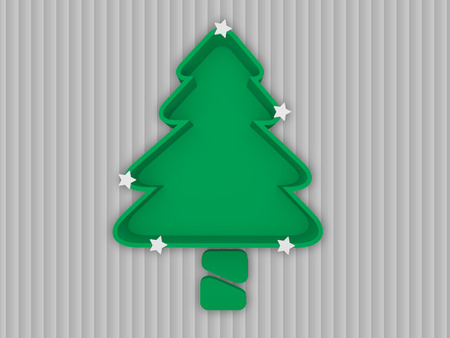 Christmas tree tray with trunk and shining white stars on grey stripe background Stock Photo