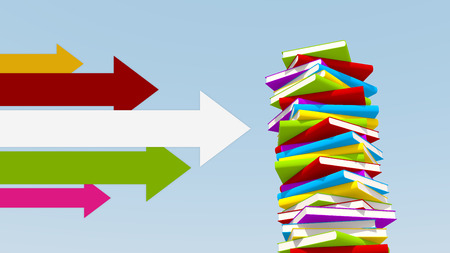 reference point: various colors of arrows pointing towards stack of books