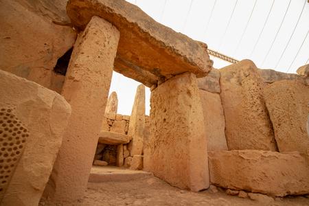 A megalithic stone doorway at the Hagar Qim Complex in Qrendi Malta