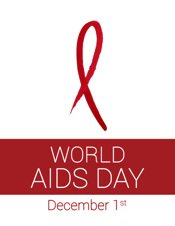 Hand drawn red watercolor ribbon for World AIDS Day in December on white and red background