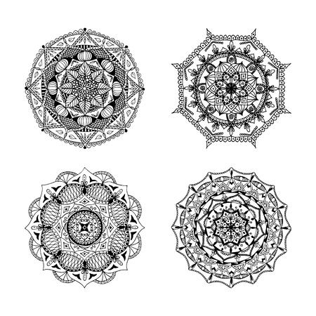 Set di tatuaggi mandala disegnati a mano, libri da colorare e modelli (illustrazione vettoriale)