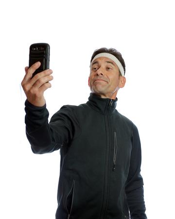 Quick selfie before exercise 版權商用圖片