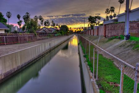 runoff: Barranca runs between housing tracts. Stock Photo