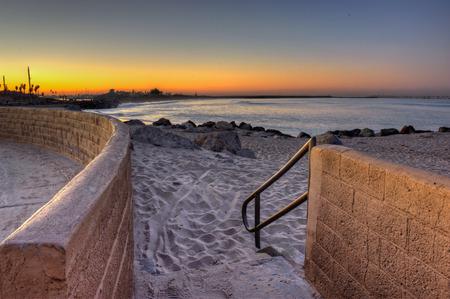 beach access: Beach access this way Stock Photo