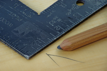 framing: Tools of the Carpenter include the framing square. Stock Photo