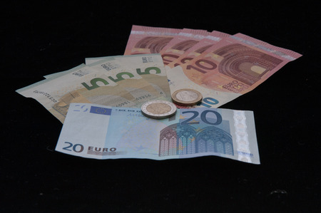 denominations: Different denominations of the Euro Stock Photo