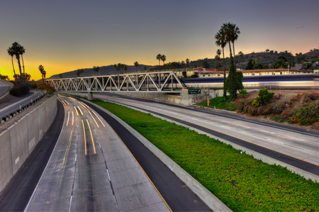 streaking: Express way to the sunset Stock Photo