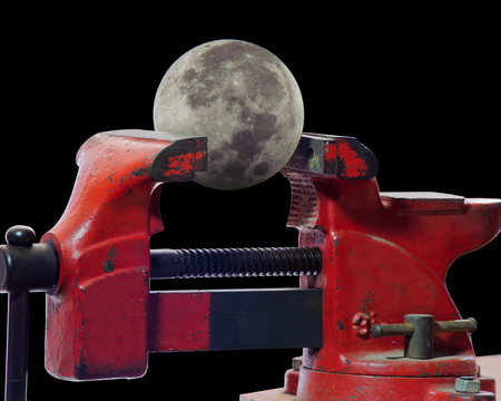 Full moon being squeezed in a vise.