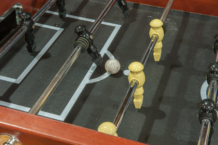 Close up view of a foosball game. Imagens