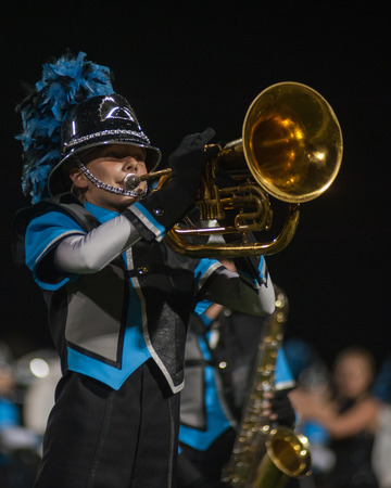 marching band: Close up view of Baritone player in marching band.