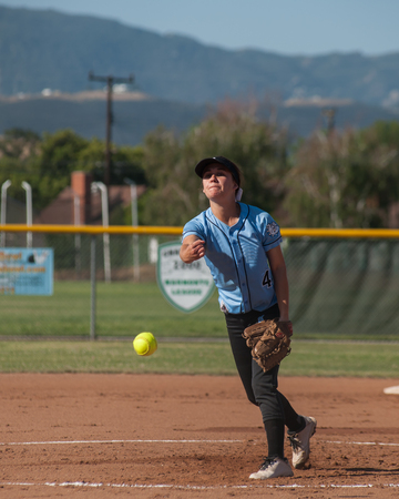 innings: Female softball pitcher delivering a pitch Stock Photo