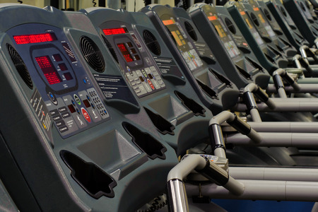 Row of treadmills in the gym