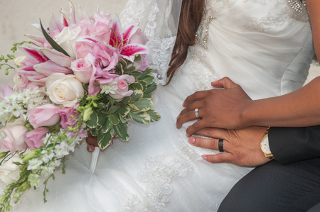 Bride and groom hands showing their new rings