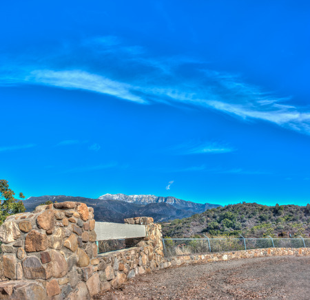 View of Topa Topa over Ojai with stoneworks in foreground.