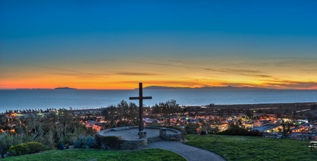 settling: Panoramic view of dusk settling over the beach town of Ventura.