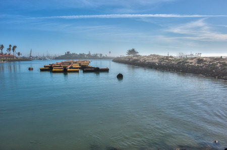 staging: Wide view of foggy marina used as staging area for pipe used to dredge Ventura Harbor.
