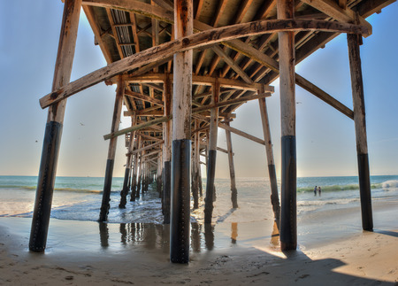 joists: Panoramic view of Balboa Pier from below the deck.