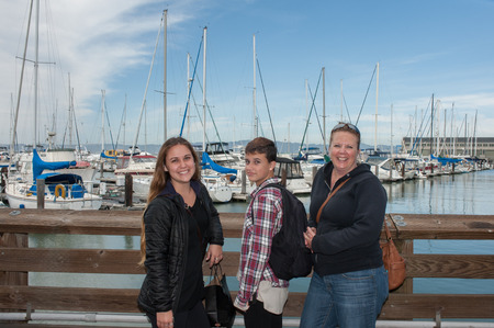 san francisco bay: Mother with her two daughters in San Francisco Bay. Stock Photo