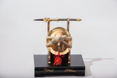 bushido: Kabuto helmet display with samurai katana sword.