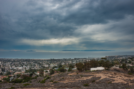 Stormy clouds moving over the Channel Islands horizon.
