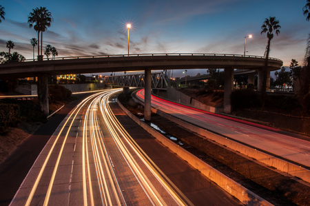 Streaking northbound traffic during morning rush hour in landscape format. Stock Photo