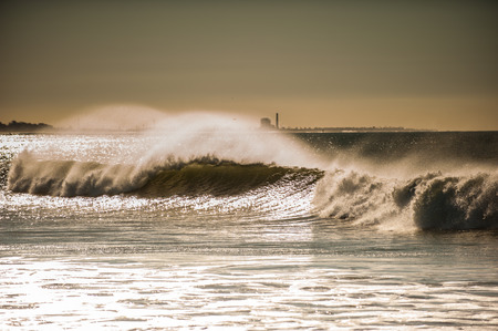 close out: Large wind blow waves roll into Ventura beaches.