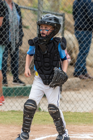Little league catcher in protective mask and chest pad looking alert toward the next play at home. Stock Photo