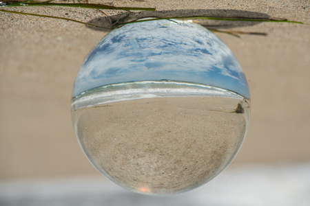 Fish eye scence of California summer beach day as if contained in a drop of water.