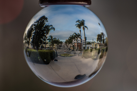 Fish eye view of downtown street route between buildings and palm trees all the way to the ocean horizon.