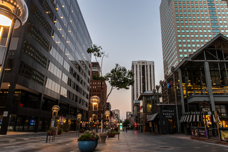Slate-covered sidewalks along the 16th Street Shopping mall of downtown Denver, Colorado on August 9, 2018. Editorial