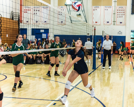 Outside hitter for West Ranch High Schools freshmansophomore volleyball team races to retrieve ball on defense as Moorpark team looks on during Westlake, California tournament played on August 25, 2018.
