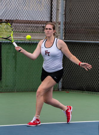 High school varsity tennis player from Foothill Tech focused on getting to the ball during her match against St Bonaventure on September 4, 2018.