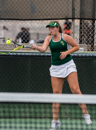 High school varsity tennis player from St Bonaventure hitting a powerful forehand during her match against Foothill Tech on September 4, 2018.