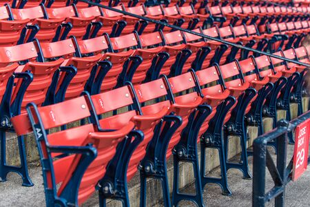 Loge section seating for the baseball fans to watch the game in the stadium. Banco de Imagens