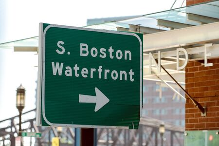 South Boston Waterfront sign posted to point the tourists in the right direction when navigating.