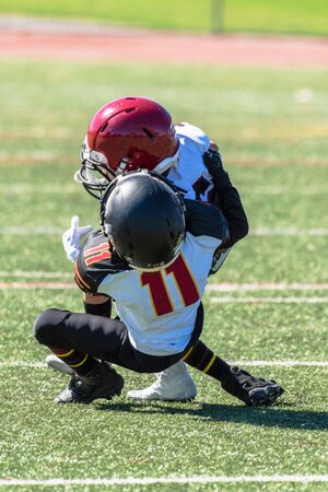 Youth football player number 11 has offensive player wrapped up and bringing down to turf with a tackle. Imagens